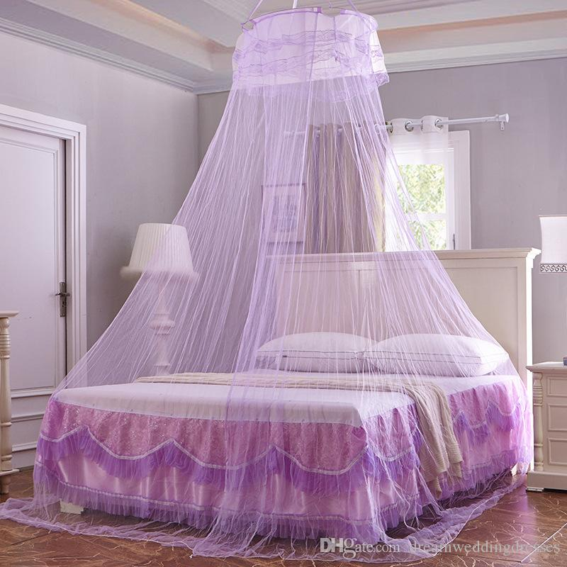 White Color Round Dome Bed Canopy Bedcover Mosquito Net