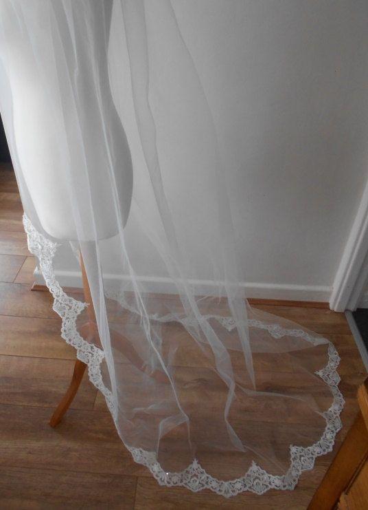 New Elegant Luxury High Quality Cheap Best Sale Chapel White Ivory Lace Applique veil Mantilla Bridal Head Pieces For Wedding Dresses