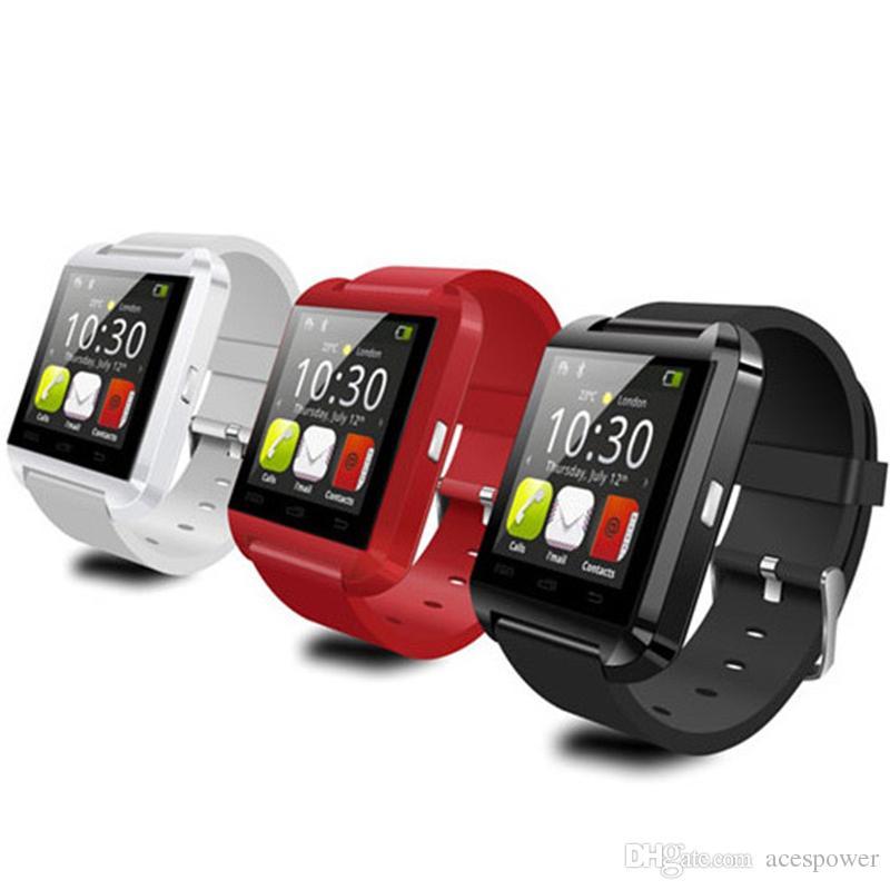ساعة ذكية U8 يو مشاهدة الساعات الذكية ل SmartWatch Samsung Sony Huawei هواتف أندرويد جيدة مع الحزمة