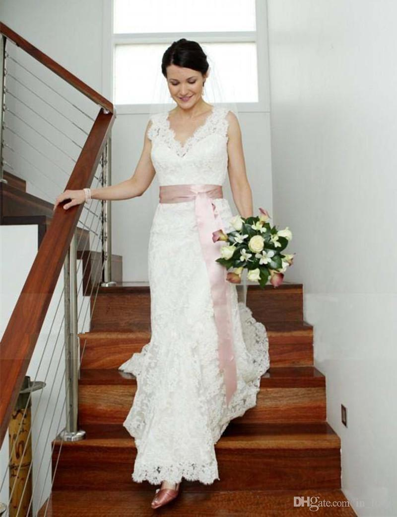 Lace Wedding Dress with Ribbon