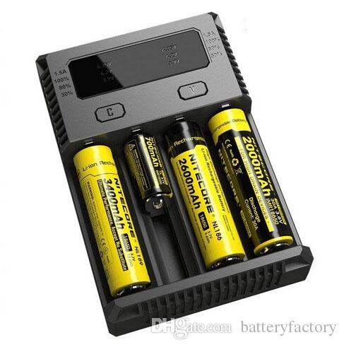 100% Autêntico Nitecore NEW I4 Intellicharger Universal 1500 mAh Saída Máxima e cig Carregadores para 18650 18350 26650 10440 14500 Bateria
