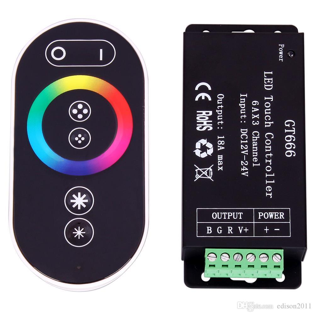 GT666 18A RF Wireless Touch RGB LED Controller for RGB LED Strips 6Ax3 Channel Touch Panel