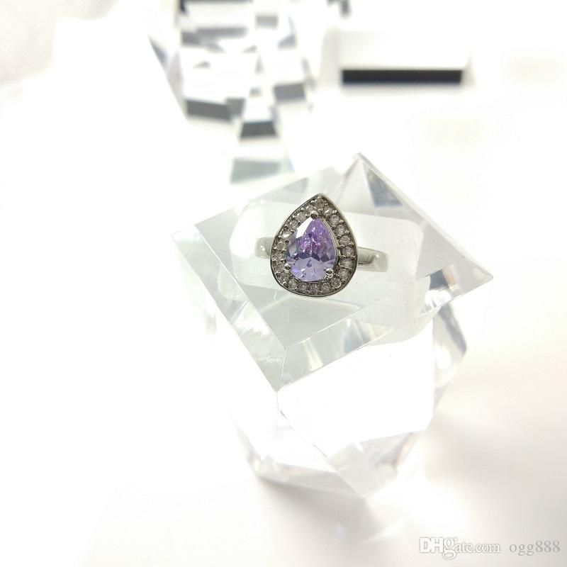 The new jewelry set for women's 925 stylish purple Earrings Ring Size 789 free jewelry boxes B