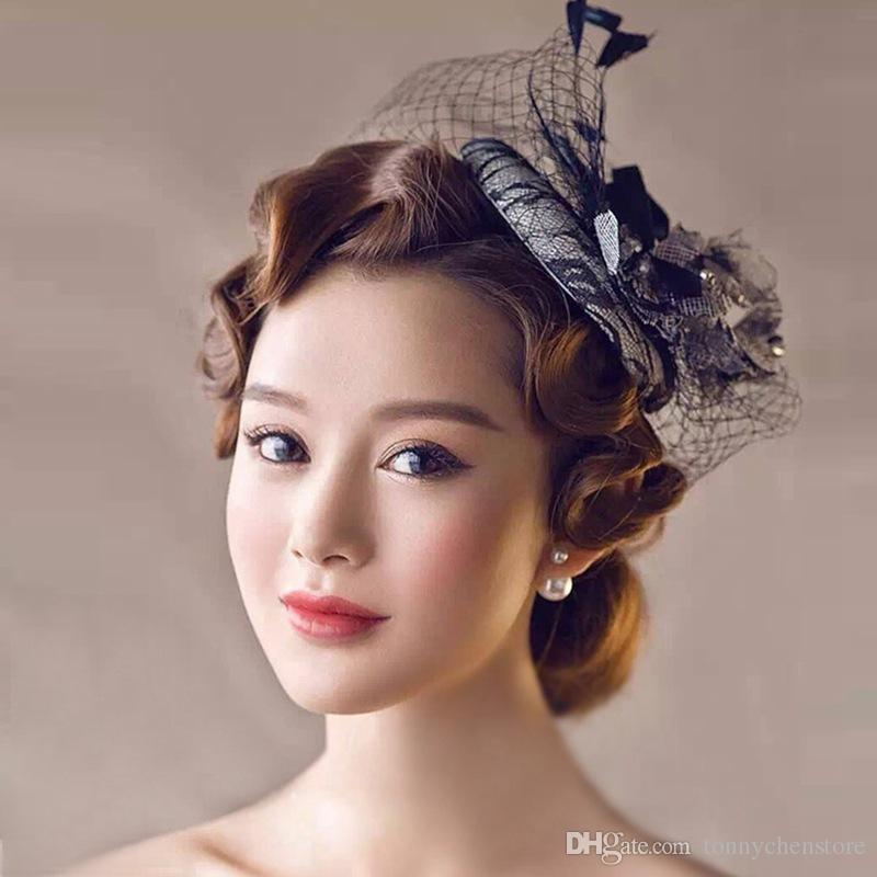CHENLVXIE Black Luxury Wedding Hats For Women Cheap Hair Accessories Vintage Bridal Hats In Stock Wedding Hat Veils