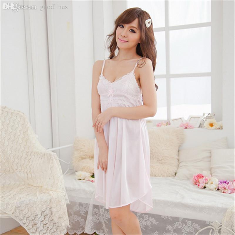 650426cabb Wholesale-Women Lace Suspender Sleepwear Robes Girl Imitation Silk ...