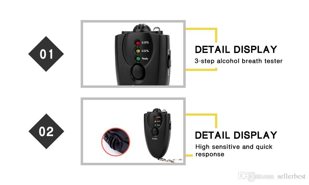 High Sensitive Digital Alcohol Tester Diagnostic Tools 3-step LED Indicator Breathalyzer Portable Breathalyzer Torch function