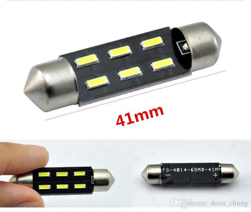 200x bombillas interiores 41mm 4014 C5W 6SMD 12V frontal Cúpula Mapa LED vía guantera, Maletero Luces de festón Fuente de iluminación del vehículo