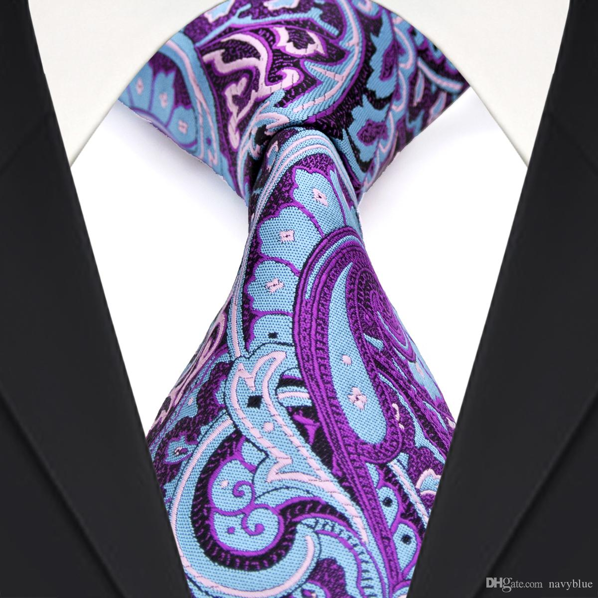 a9b2dfca8c F2 Multicolor Light Blue Fuchsia Red Paisley Floral Mens Ties Neckties 100%  Silk Jacquard Woven Wholesale Bow Ties For Men Satin Blouse From Navyblue,  ...