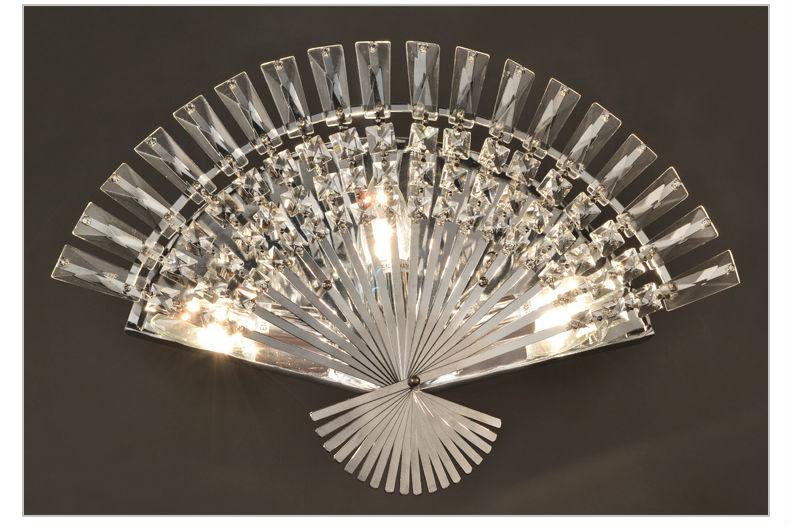 Fan-Shaped Crystal Wall Light Modern Simple Corridor Stairs Bedroom Wall Lamp Fixture LED Wall Sconce Bedside Crystal WaLL Light