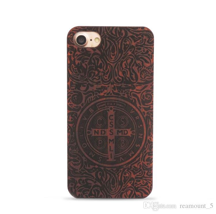 Laser gravierte Holz-Kasten für iPhone 7 6 6 S Plus Ursprüngliche Retro PC + Holz ultra dünne Rückseite Fall