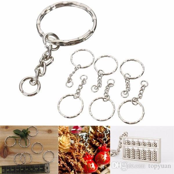 55mm porte-clés blancs argent porte-clés porte-clés fob split anneaux 4 chaîne de lien