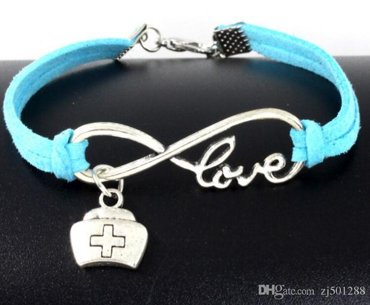 Vintage Silver Love Infinity Medical Package Charm Bracelet Bangle For Women Mixed Color Velvet Rope Bracelet Jewelry Gift Accessories