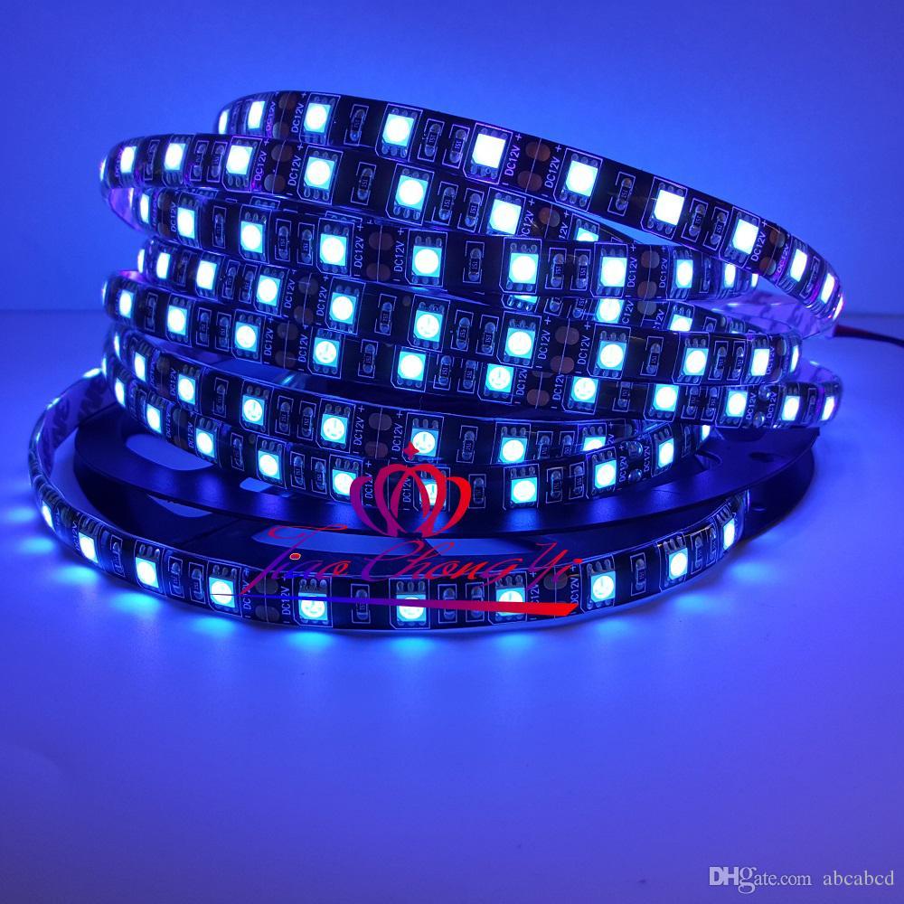 Siyah PCB Esnek LED Şerit DC12V 5 M 300led SMD 5050 UV Mor 60 LEDs / m Işık Olmayan su geçirmez IP20, su geçirmez IP65