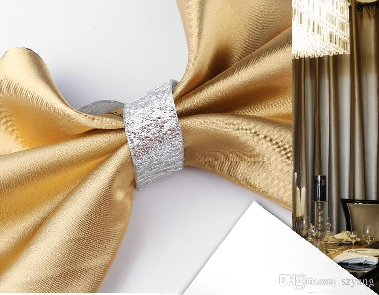 Wholesale- Silver/Gold Acrylic Napkin Rings Fashion Simple Wedding Banquet Dinner Table Decor For Wedding Baby Shower Party