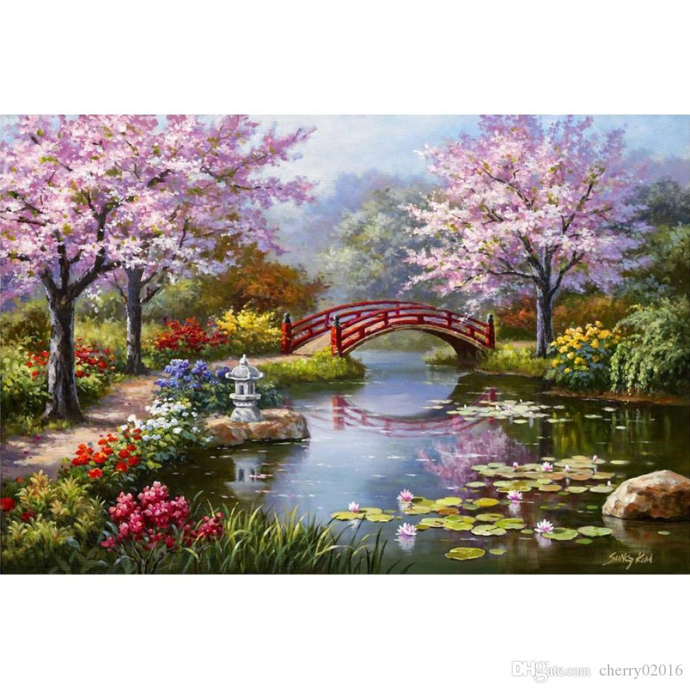 2018 modern landscapes art japanese garden in bloom by sung kim oil painting canvas high quality hand painted from cherry02016 12563 dhgatecom - Japanese Garden Cherry Blossom Paintings