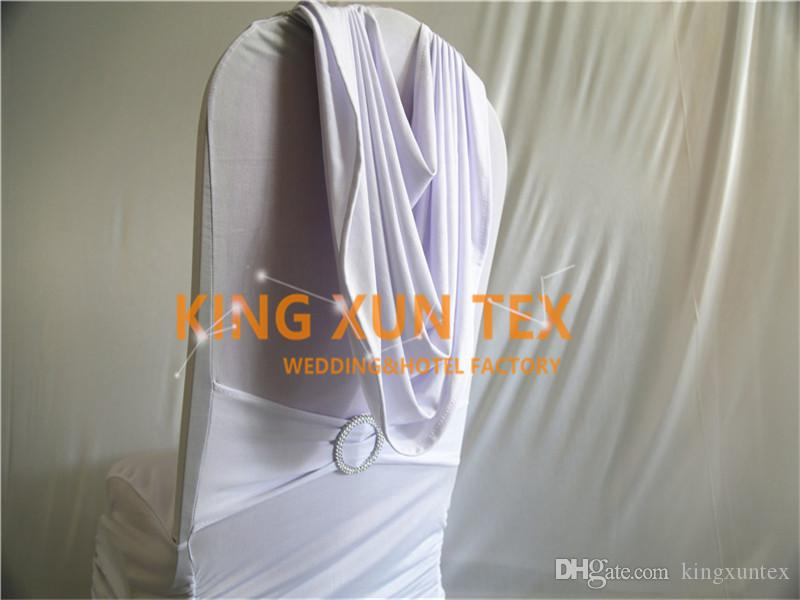White Color Pleated Lycra Spandex Chair Cover Back With Swag Drape For Wedding And Event Decoration