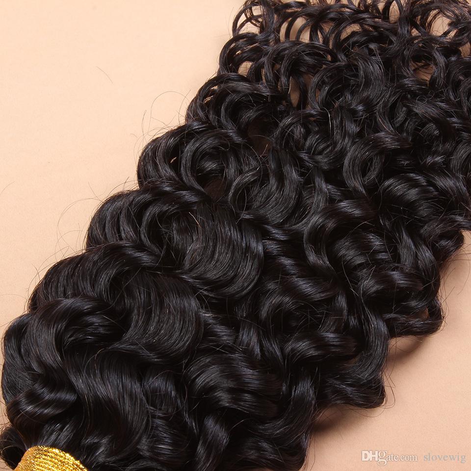 Dhl-freies Verschiffen 1 STÜCK Top Lace Verschlüsse Mit 3 Stücke Haareinschlagfaden, 4 teile / los, brasilianische Reine Haarverlängerung Natürliche Lockige Tiefe Welle 12