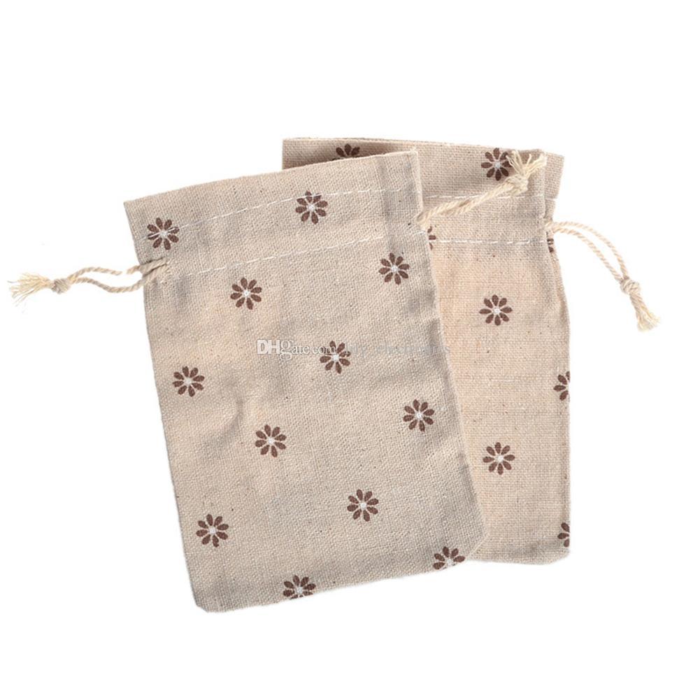 Drawstring Cotton Linen Snacks Gift Bag Pastoral Brown Flowers Jewelry Packing Bag Color Send Randomly