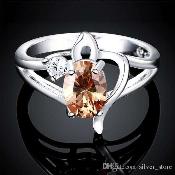 High grade Full Diamond fashion Hollow Ribbon 925 silver Ring STPR039B brand new red gemstone sterling silver plated finger rings