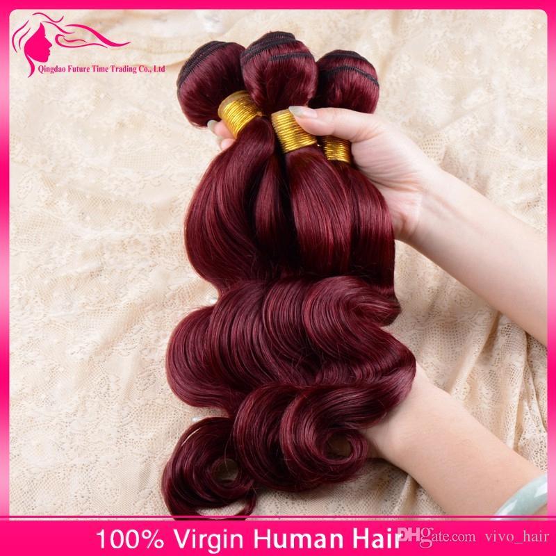 Brazilian Wine Red Body Wave Human Hair Extensions Pure Color 99J Burgundy Brazilian Human Hair Weave Bundles