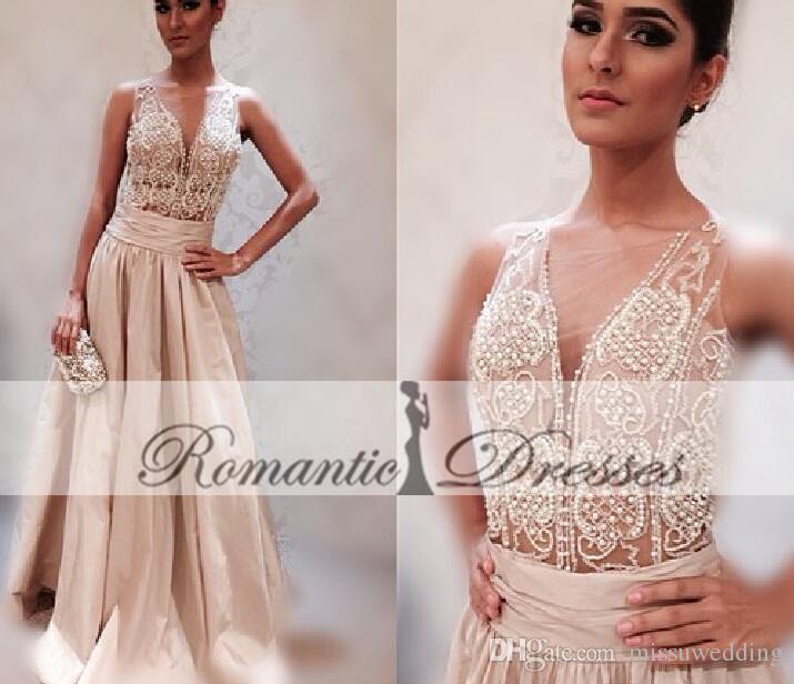 Großhandel Licht Creme Farbe Perlen Perlen Sheer Top Prom Kleider ...
