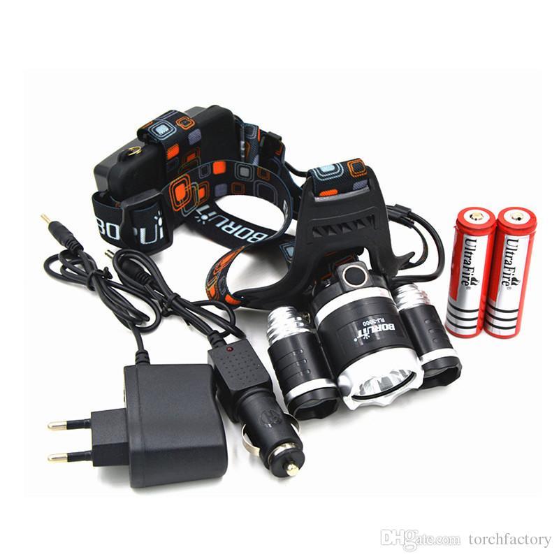 Boruit RJ3000 5000LM CREE XML T6+2R5 Camping Headlamp,Fishing Hunting Lamp Light +18650 battery+Car EU/US/AU/UK Plug Charger