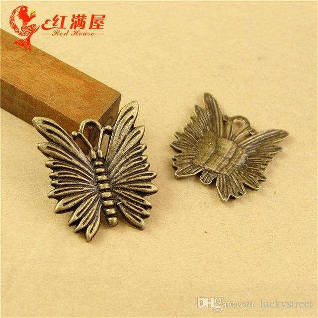 A2345 25*21MM Antique Bronze Retro butterfly charm beads national ZAKKA, ancient animal shaped jewelry, small little animal pendant