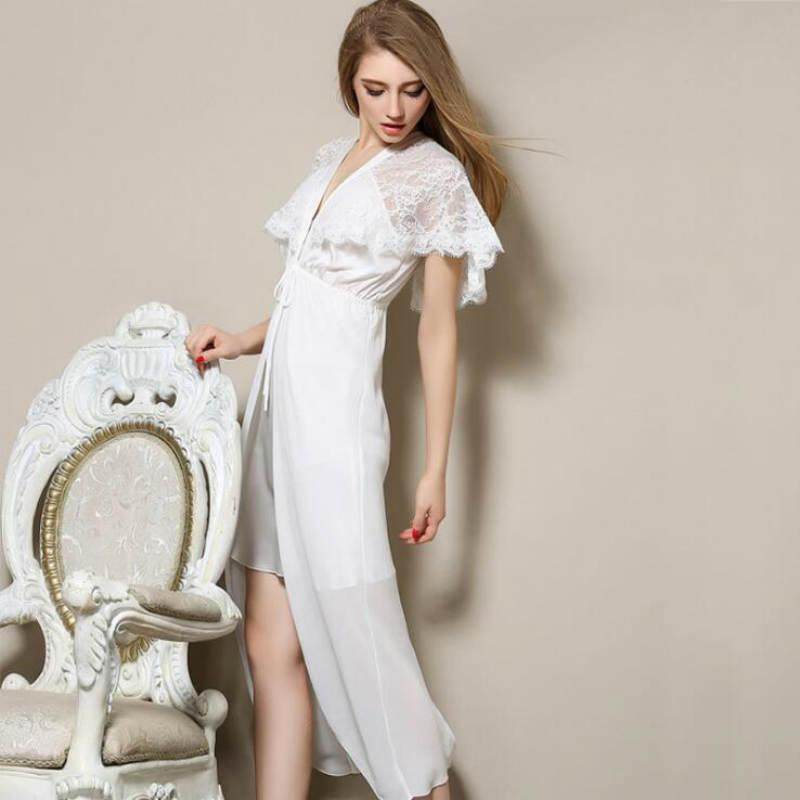 2018 Wholesale White Nightgown Long Nightgown Plus Size Romantic ...