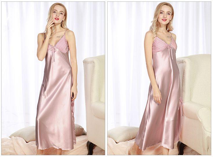 Atacado Moda Mulheres Sleepwear Imitado Tecido De Seda Longa Camisola Gallus Nightgowns Sexy Feminino Nightclothes Faddish E Novo Stylizing