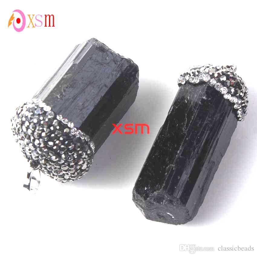 10P Natural Black Tourmaline Druzy Ore Gem Stone Healing Reiki Bead Pendant Raw Energy Chakra Natural Stone Pendants For Women
