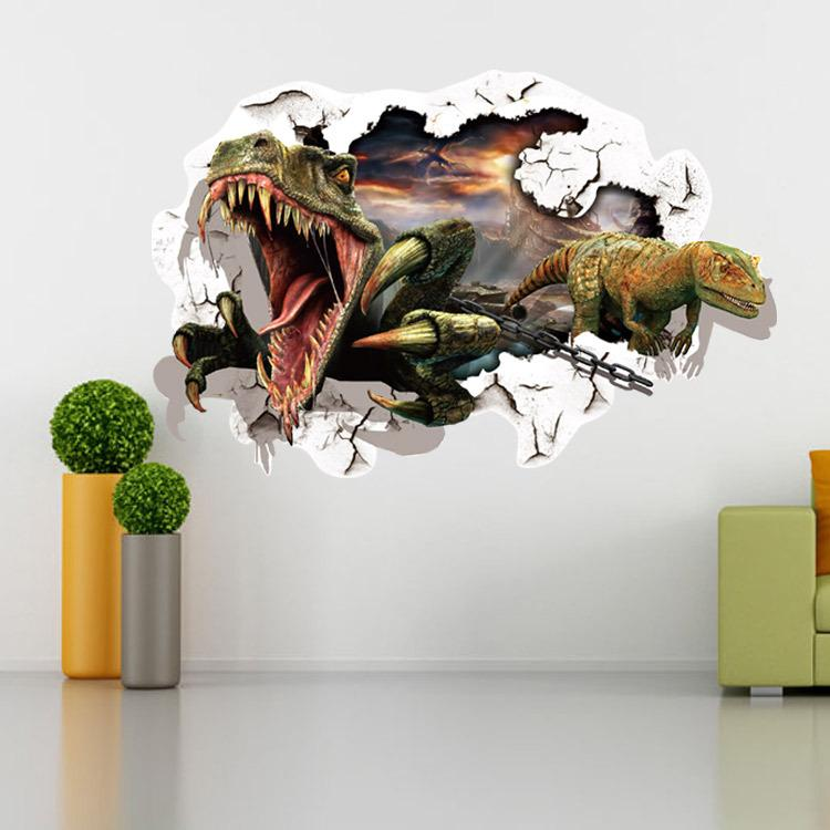 Cartoon Dinosaur Wall Sticker Wall Decals for kids rooms Child Wallpaper 3D Art Decor Decals free shipping