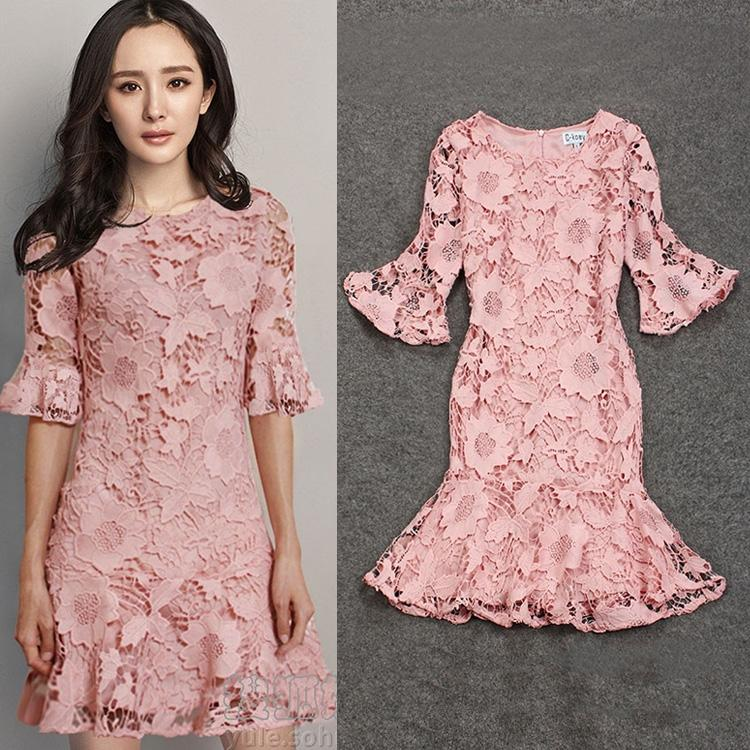 New 2016 Women Clothing 3/4 Long Sleeve Dress For Big Girl Casual pullover Crew Neck Pincess Dress Women Fashion Nice Lace Dress