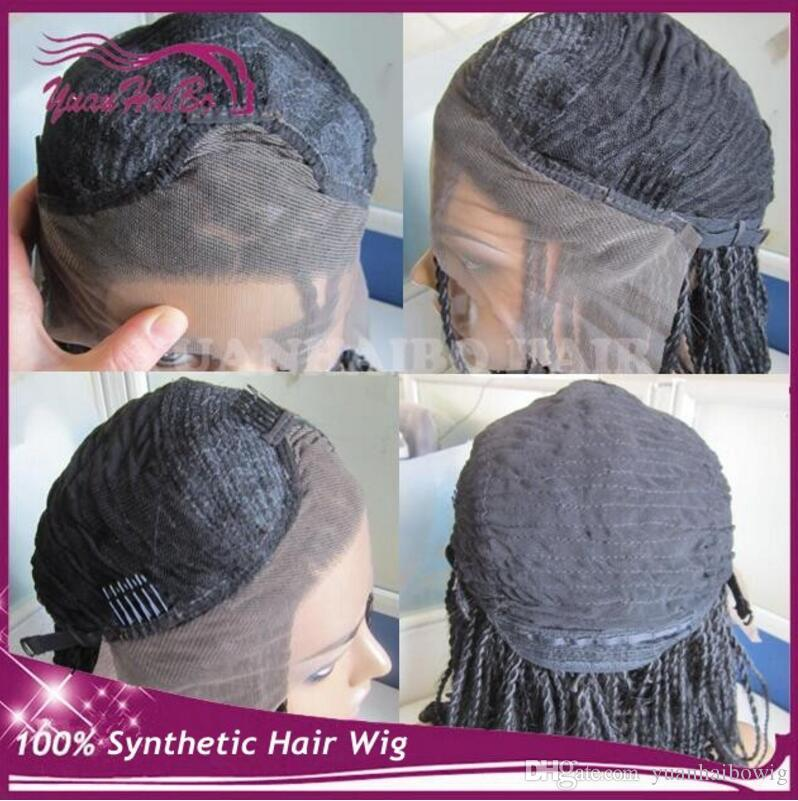 Synthetic braided Lace front Wig glueless heat resistant kinky twists full hand braided wig for black women