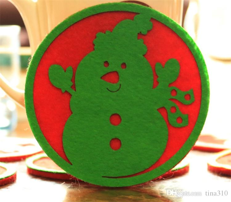 New Christmas decorations west glass table mat Coffee cup mat disc pad insulation pad Christmas gifts B0757