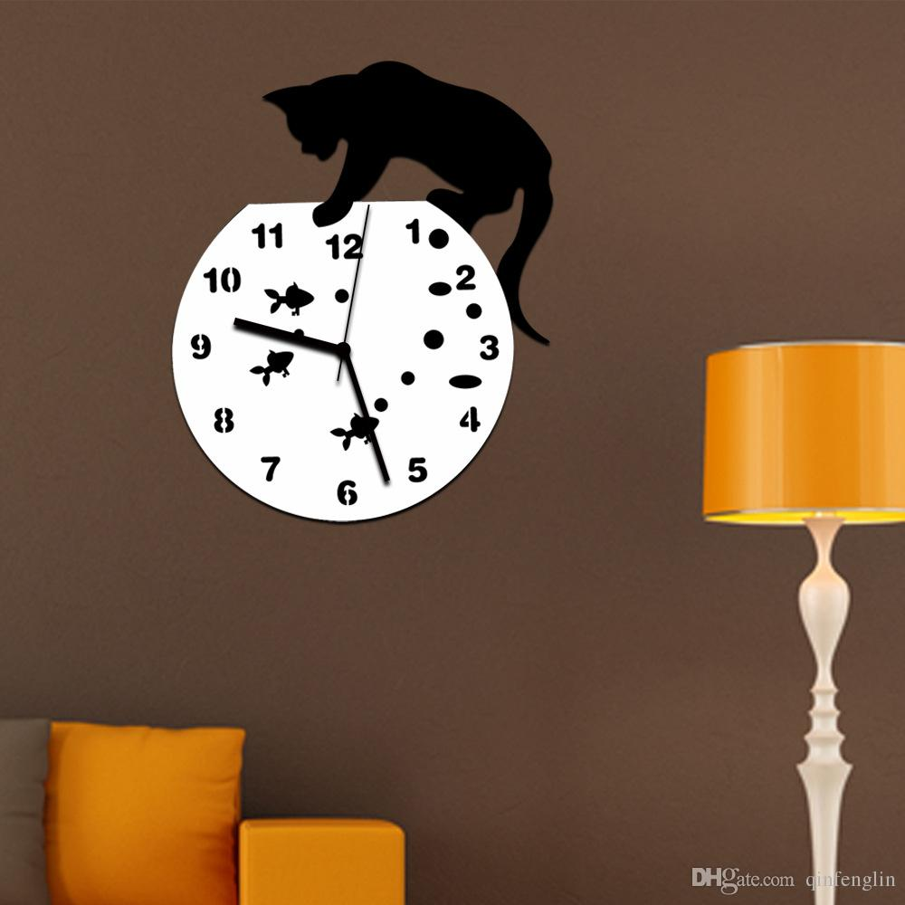 Tom And Jerry 3d Wall Clock Wall Mirror Sticker Clock Watch Mirror Stickers  Home Cat Wall Decor Decals Wall Clock Modern Design 30 Wall Clock 30 Wall  Clocks ... Part 54