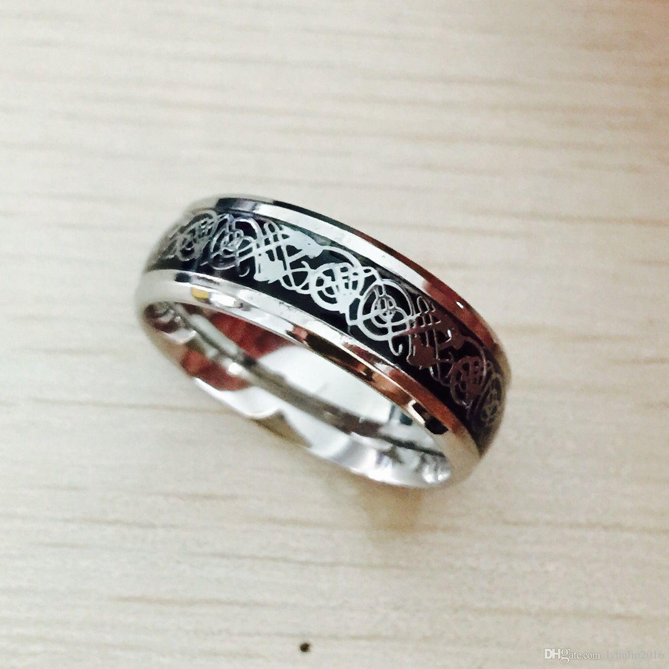 San Valentino Vintage Vintage acciaio al tungsteno bianco Anello d'oro gli uomini signore Titanium anelli di nozze Band nuovi gioielli anello punk