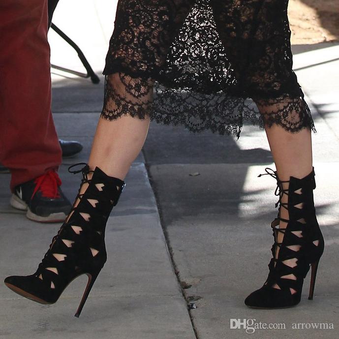 2016 schwarze Frauen Stiefel Mode Damen Bottine Femme Hohe Dünne Fersen Zapatos De Mujer Hohle Seite Mode Party Stiefel Plus US4-US15