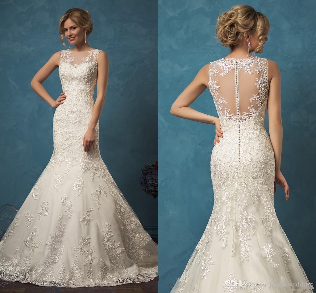 2018 Mermaid Court Train Wedding Dress High Quality Scoop Sheer ...