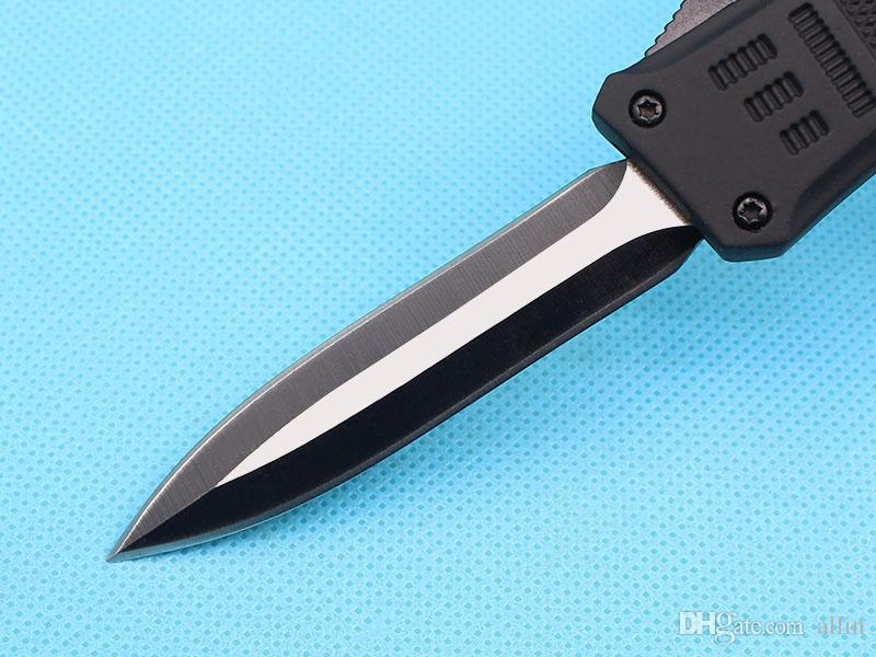 Custom Knives - 7 Inch Black Small 616 Auto Tactical Knife 440C Double Straight Edge Fine Blade With Nylon Bag