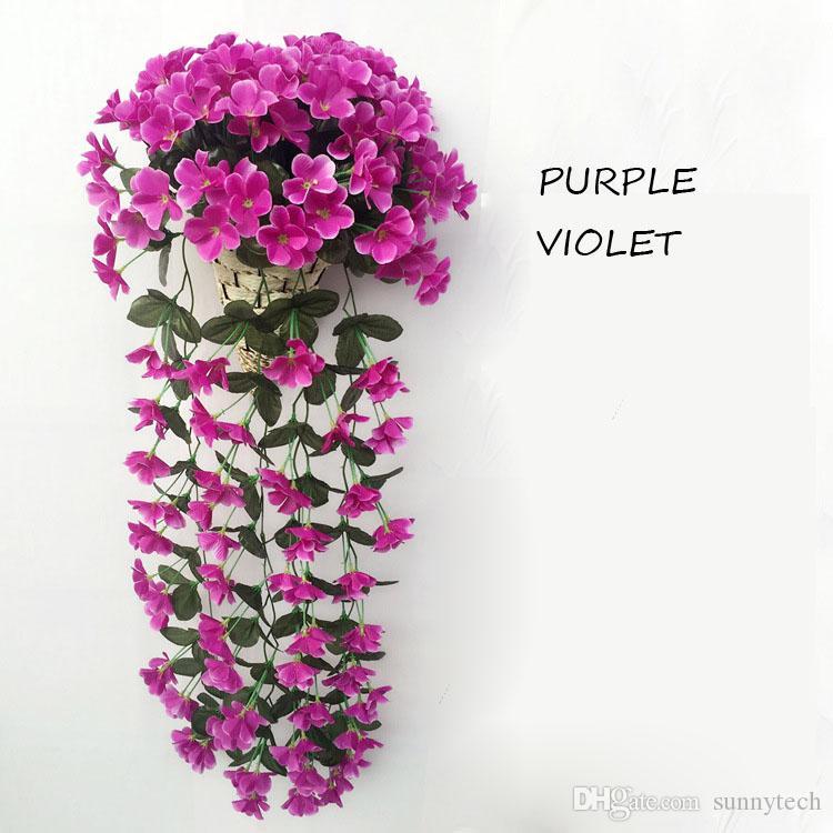 80 cm Flor Artificial Wisteria Rattan Violeta de Seda de Plástico Decoración de Flores Para la Boda Fiesta Fiesta Envío Gratis
