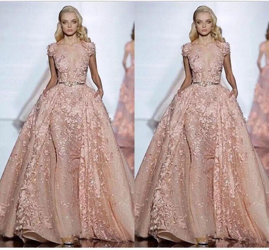Elegant Elie Saab Evening Dresses Short Sleeve Applique Lace Prom ...