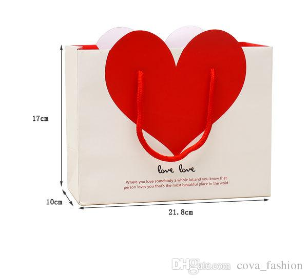 Love paper gift bag stock ivory board elegant paper shopping bag with handles ELB161