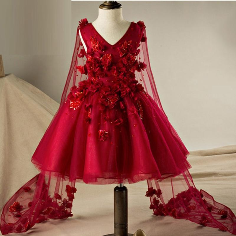 2e239071086 Burgundy Flower Girl Dresses Ball Gown Princess With Lace Flowers Holy  Communion Dresses With Tulle Cape Pageant Gown YTZ135 Flower Girl Dress  Patterns Free ...