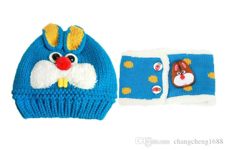 Unisex Children Knitted Caps and Scarf Winter Warm Suit Set Baby Kids Cute Rabbit Pattern Beanies Hat Set MZ3092