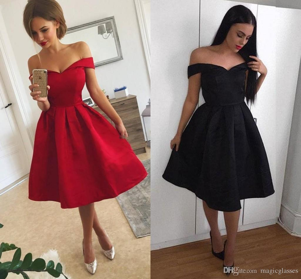 888dbaefe6 2018 Simple Red Short Prom Dresses Off Shoulder Ruffles Satin Knee Length  Black Party Dresses Cheap Homecoming Dresses Fast Shipping Xoxo Prom Dresses  ...