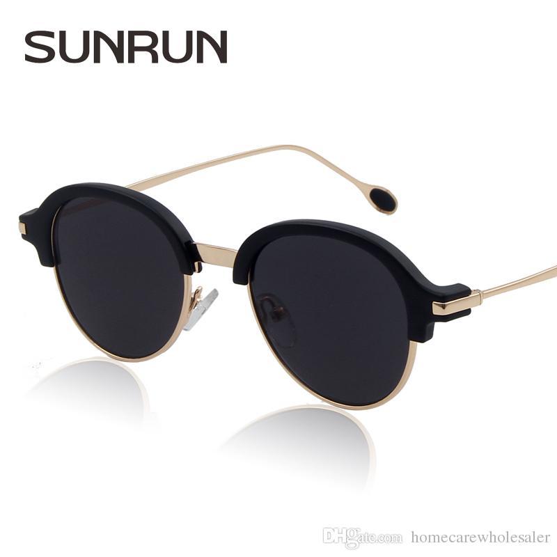 SUNRUN® Men WOMEN Retro Half Frame Sunglasses Semi-rimless Sun ...