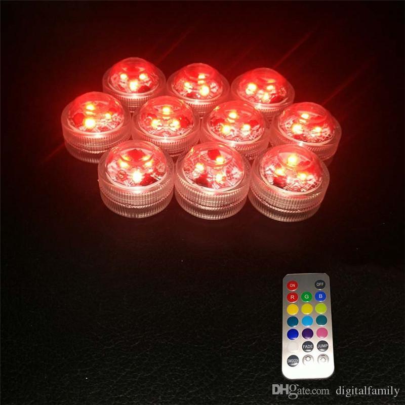 12 unids / lote Decoración de La Boda 3 RGB LED de Control Remoto Mini Sumergible Impermeable Luces de Fiesta Led con batería para Halloween Fiesta de Navidad