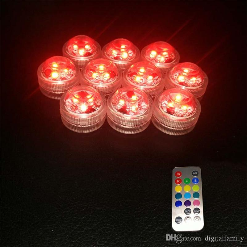 / 부지 웨딩 장식 3 RGB LED 원격 제어 미니 방수 수중 주도 파티 조명 배터리 할로윈 크리스마스 파티
