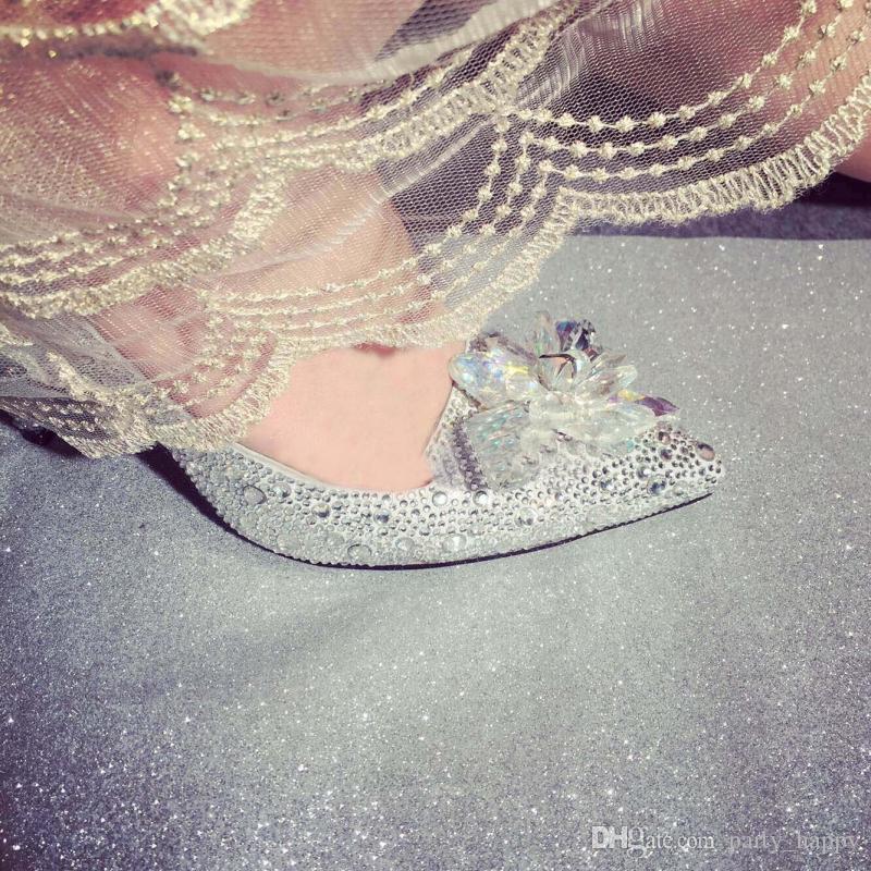 Cristal chaussures de mariage perle chaussures de mariée à la main paon strass blanc femelle talons hauts