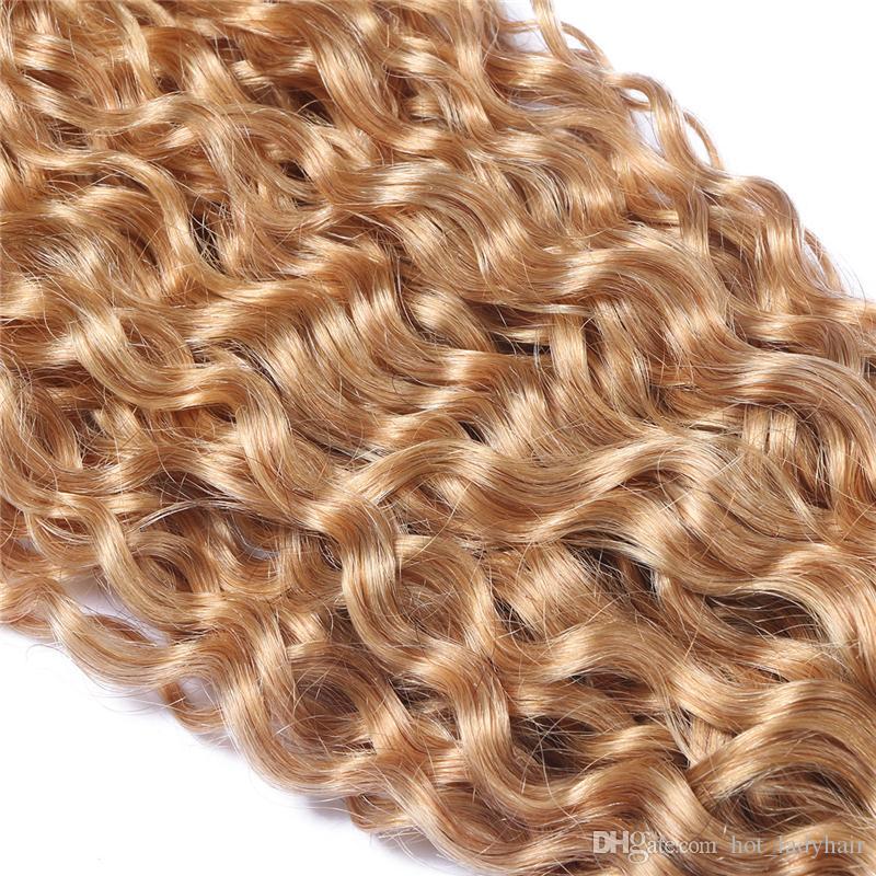 8A Grade Deep Curly 27 Honey Blonde Malaysian Hair Wefts Honey Blonde Curly Human Hair Weaves Malaysian Extensions
